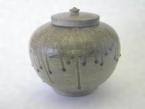 1507heiann灰釉陶器蓋付短頸壺 かいゆとうきふたつきたんけいこ